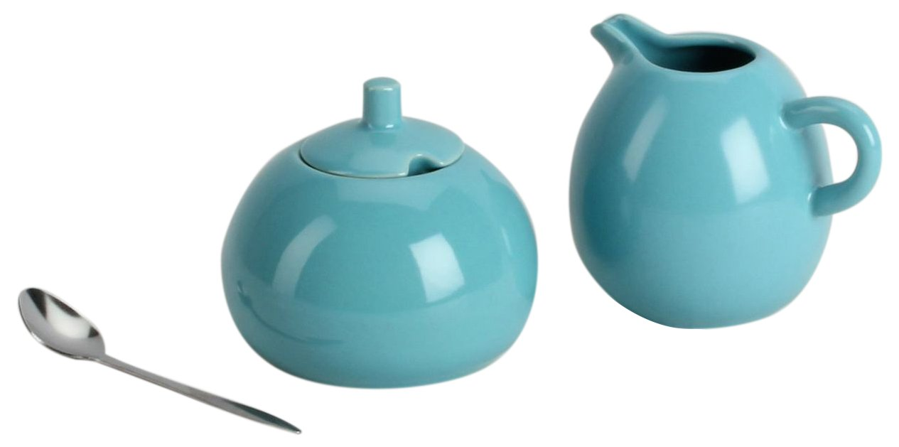 Omniware 1039033 Sugar & Creamer with A Stainless Steel Spoon Set, Turquoise