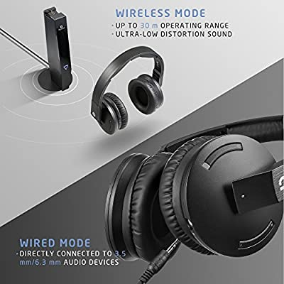 AudioMX Over-Ear Digital Wireless RF Headphones for TV, Noise-Isolation and Volume Control, ATT and UHF Audio Optimization (RCA / 3.5 mm / 6.3 mm Audio Connector)