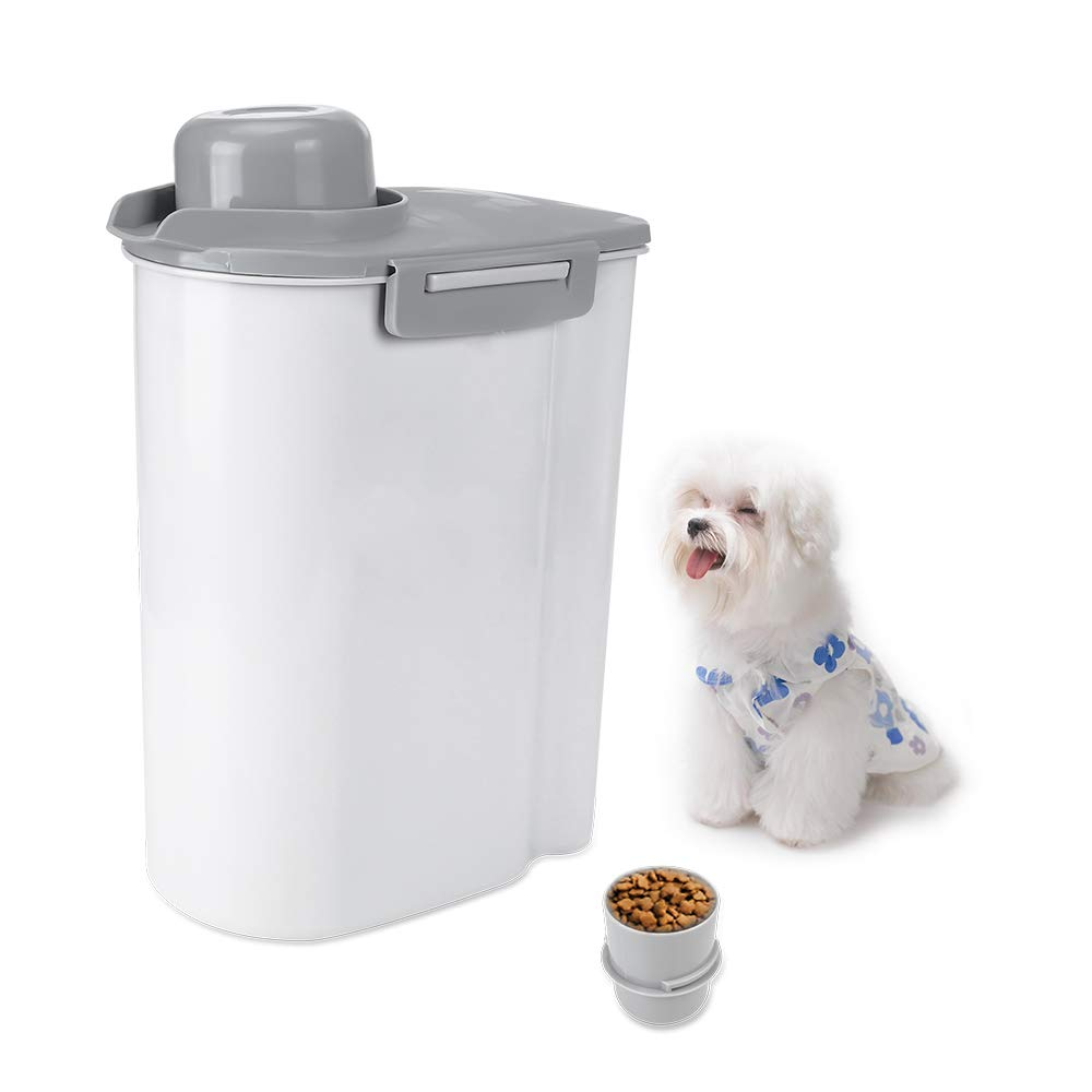 TIOVERY Dog Food Storage Container with Pour Spout and Measuring Cup for Pet Cats Birds