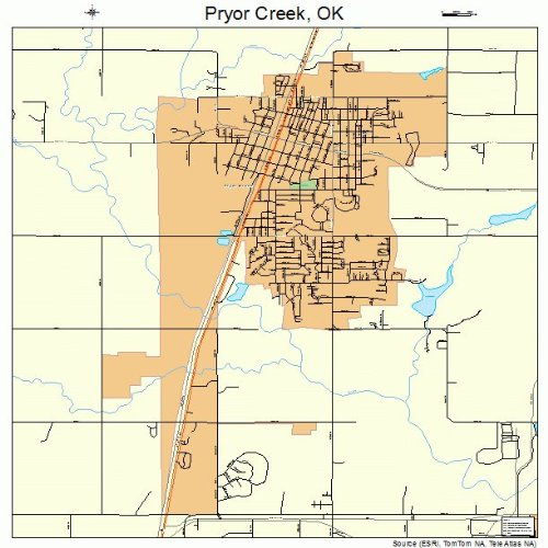 Large Street & Road Map of Pryor Creek, Oklahoma OK - Printed poster size wall atlas of your home town ()