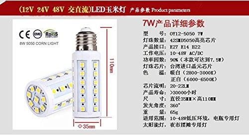 NIKU-B22 E27 E14 12V LED Lámpara de ahorro de energía solar lámpara de luz de maíz Batería 24V 48V DC 7-20W Bombilla LED,E14-15W-Luz cálida: Amazon.es: ...