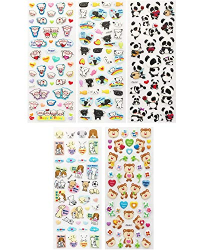 (Allydrew A71585c 3D Puffy Bubble Stickers for Crafts & Scrapbooking, ((5 Sheets), Piggies, Kitties & Pandas)