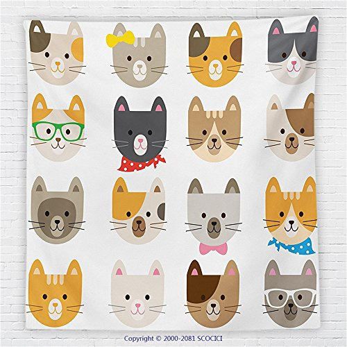 59 x 59 Inches Kids Decor Fleece Throw Blanket Cats Costume with Glasses Bow Tie Bandana Cartoon Art Craft Pattern Print Pets Animal Lovers Print (Playboy Fifties Costumes)