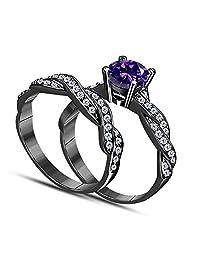 DreamJewels 1.00 CT Lab Created Purple Amethyst Round Shape 14k Black Gold Plated Infinity Twist Style Wedding Engagement Bridal Set Ring Ladies