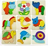Wooden Toys Set Of 3 Wooden Cartoon Pattern Puzzle Blocks For Kids