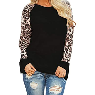 9474a466d2f Lowprofile Women Shirts Tops Plus Size Leopard Casual Long Sleeve Blouse  Tunic Girls Sweatshirt Pullover Tops