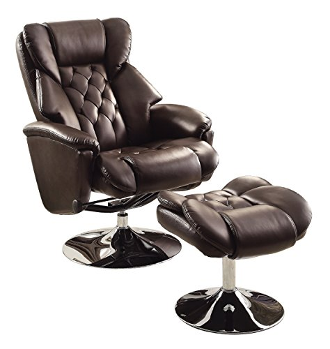 (Homelegance 8548BRW-1 Swivel Reclining Chair with Ottoman, Dark Brown Bonded Leather)