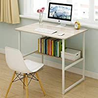 Smilee Home Office Desk with Shelves, Computer Desk Workstation, Sturdy Metal Frame Compact Studying Table for Home and Office (100x45 without shelves)
