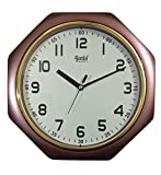 Ajanta Quartz Plastic Octagon Shape 24.5 cm X 24.5 cm Fancy Simple Small Size Home Decor Wall Clock For Home And Office - 121 (Brown)