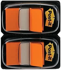 Post-it - Dispensador de banderitas separadoras (2 x 50 unidades, 25 mm), color naranja