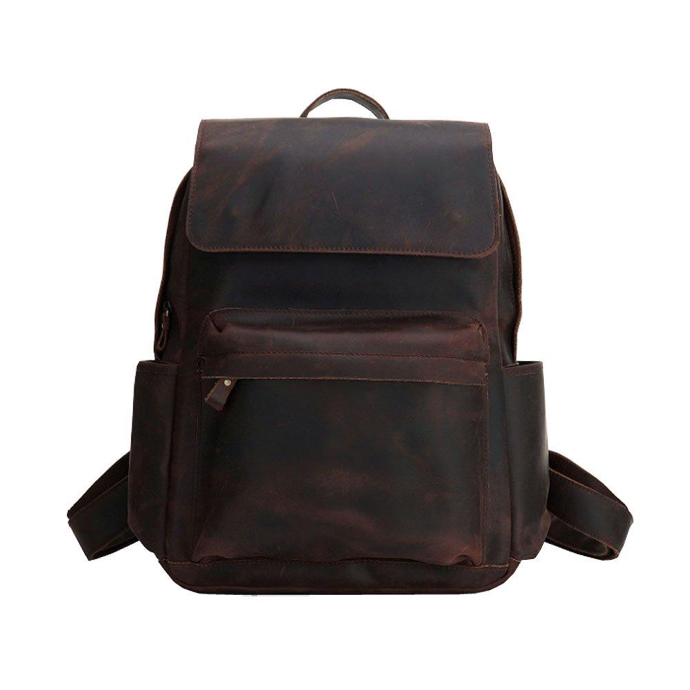 Paonies Unisex Women Men Leather Backpack Rucksack School Hiking Laptop Bag