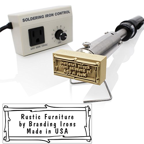 Custom Branding Iron with Personalized Text and Twig Border Includes Electric Heating Tool and Temp Control Unit - Large Size