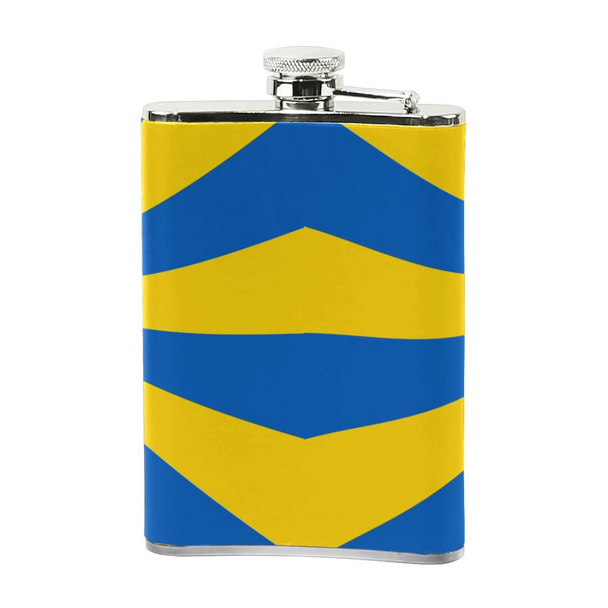 Steel Stainless Flask,Imperial Ukrainian Flag Leather Pocket Funnel with Screw Top,Liquor Alcohol Whiskey Classic Hip for Men,8 OZ