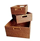 Wald Imports Brown  Rattan  Decorative Nesting Storage Baskets, Set of 3