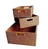 Wald Imports Brown  Rattan  Decorative Nesting Storage Baskets, Set of 3