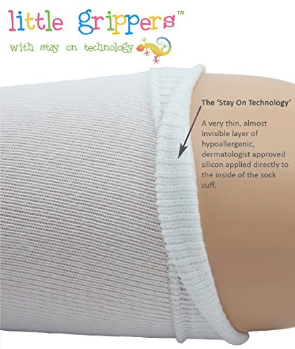 STAY ON Baby Socks 3 Pairs with Stay On Technology - White 6-12 Months