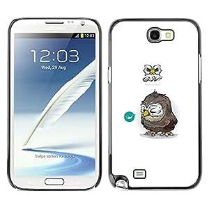 // PHONE CASE GIFT // Duro Estuche protector PC Cáscara Plástico Carcasa Funda Hard Protective Case for Samsung Note 2 N7100 / Búho Tiny /