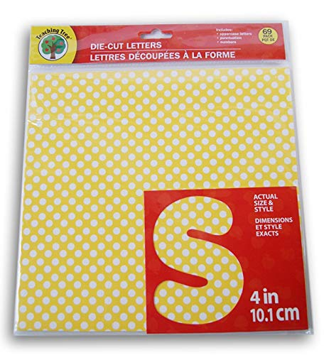 Teaching Tree Die Cut Letters and Numbers - Sunshine Yellow Polka Dot