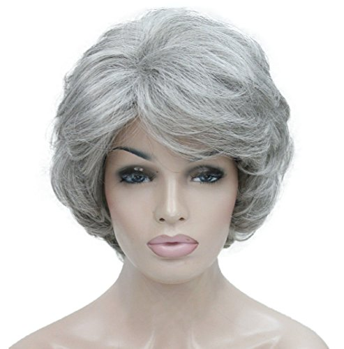 Lydell Women's Short Curly Wavy Wig Synthetic Hair Full Wig 6 inches (#51 Silver Grey)]()