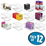 mDesign Stackable Plastic Storage Bin Container, Home Office Desk and Drawer Organizer Tote with Handles for Storing Gel Pens, Erasers, Tape, Pens, Pencils, Markers - 12 Pack, 10'' Long, Clear