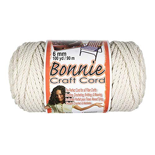Craft County Bonnie Cord - 6mm Diameter - 100 Yards in Length (Lamb's Wool)