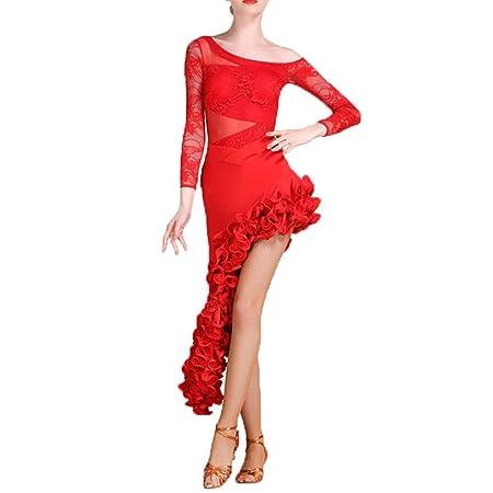 QinWenYan Vestido De Baile Latino para Mujer Vestido de Traje de ...