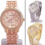 CdyBox Women Men Lady Elegant Analog Quartz Watches with Crystal Fashion Accessories (3 Pack)