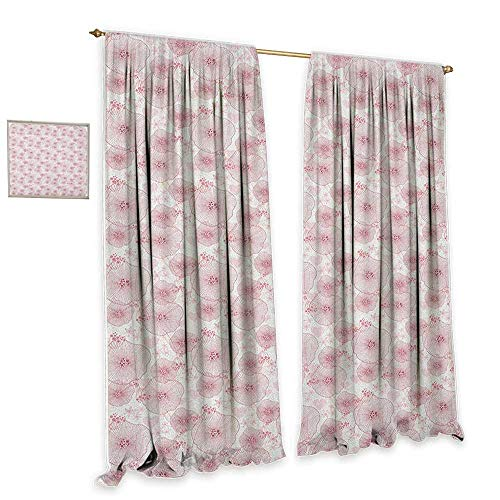cobeDecor Abstract Insulated Sunshade Curtain Pale Toned Water Lilies Dotted Heart Design Valentines Day Inspired Image Noise Reducing 55