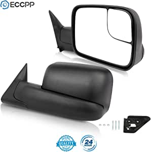 ECCPP Black Manual adjusted Side View Mirror Tow Towing Mirrors Left & Right Pair Set for 94-01 Dodge Ram 1500, 94-02 Ram 2500 3500 Truck