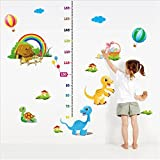 hot air balloon growth chart - BIBITIME Height Measurement(lowest 60cm) Kids Growth Chart Wall Sticker Rainbow Cottages Turtle Hot Air Balloon Decals for Nursery Playroom Children Room Decor