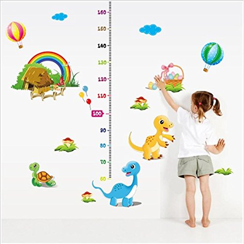 BIBITIME Height Measurement(lowest 60cm) Kids Growth Chart Wall Sticker Rainbow Cottages Turtle Hot Air Balloon Decals for Nursery Playroom Children Room Decor