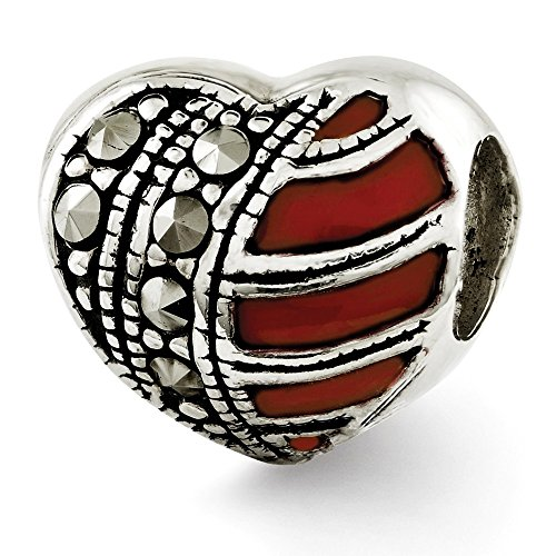 925 Sterling Silver Charm For Bracelet Marcasite Enameled Heart Bead Love Stone Crystal Fine Jewelry Gifts For Women For Her