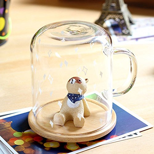 Keabby Cute animal Cup Personal Glass Coffee Mug Office Cup Milk Cup Tea cup 301-400mLwith Wood Cover--Best gift!! (Grey Bear)