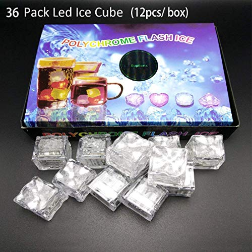 36PCS IPX7 Waterproof Led Light Flashing Multi-Color Liquid Sensor Ice Cube Lights for Bar Club Drinking Party Wine Wedding Decoration