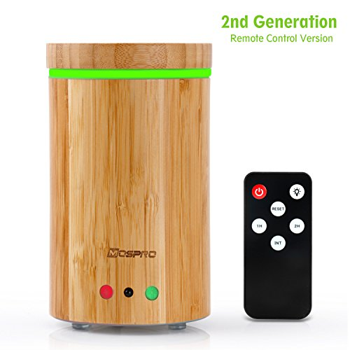 Essential Oil Diffuser, MOSPRO Real Bamboo Ultrasonic Diffuser with Wood Grain, Remote Control (Essential Oil Diffuser Wood compare prices)