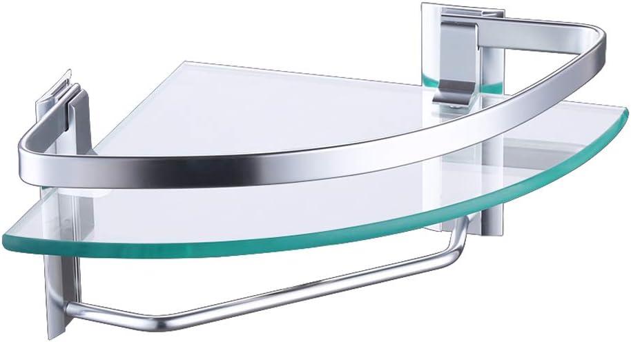 Umi di  Mensola Bagno Mensola Da Bagno Vetro Con Asta Portasciugamani Alluminio Anodizzato Vetro Temperato Spesso 8 mm Inossidabile Rettangolare Colore Argento A4127A