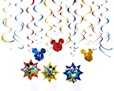 Disney Mickey Mouse Birthday Party Hanging Swirl Ceiling Decoration, Pack Of 12, Blue/Red/Yellow , 24, Foil