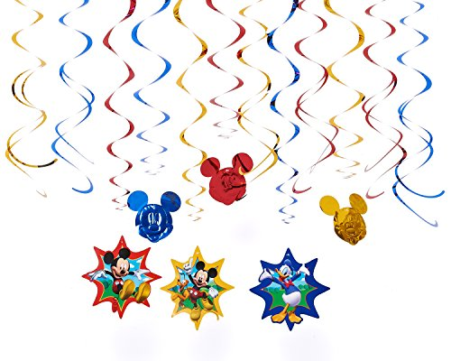 Disney Mickey Mouse Birthday Party Hanging Swirl Ceiling Decoration, Pack Of 12, Blue/Red/Yellow , 24″, Foil