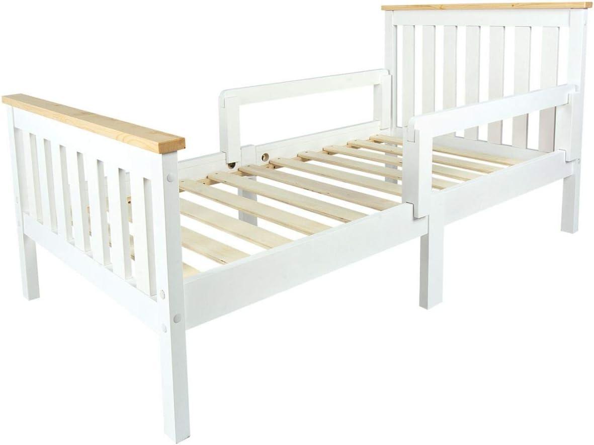 Leomark Individual Cama Infantil de Madera - MILANO PINE - con Somier, barra de seguridad, para niños, color blanco, moderno y elegante Mobiliario ...