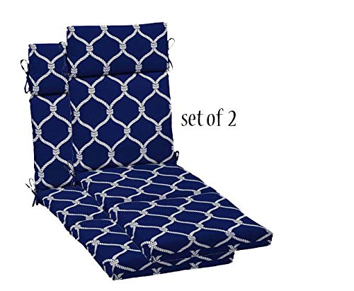 """Comfort Classics, Inc. Outdoor Chaise Lounge Cushion Set of 2 72"""" L x 21"""" W x 4"""" H H@29.5 in Spun Polyester Rope Ogee Blue"""