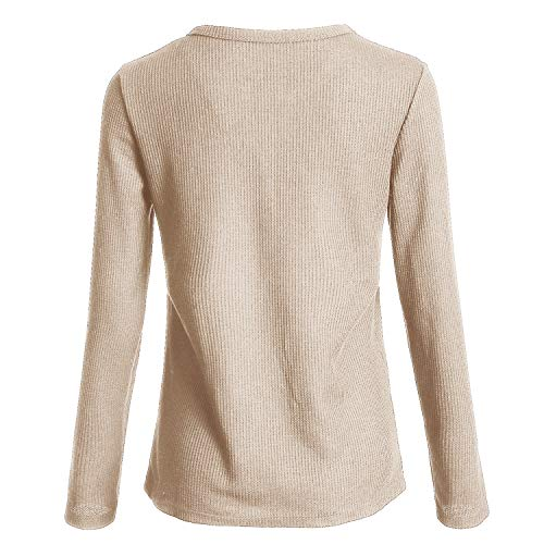 fdb5e1dc028 Famulily Womens Long Sleeve Tshirt V Neck Loose Fit Soft Waffle Knit  Thermal Tops Beige Large