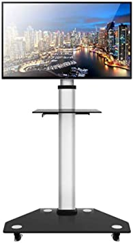 Soporte De TV Móvil: Carro De TV Ajustable con Altura De Giro De La Rueda para Pantalla LED De Plasma HDR Y LCD De 32-80