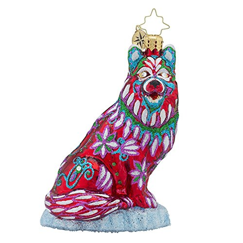 RADKO Colorful Husky Dog Glass Ornament Tribal Halloween Design Jeweled -