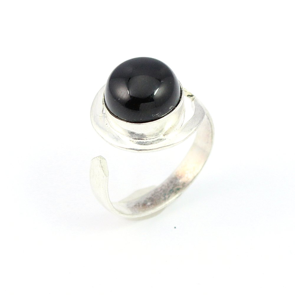 BLACK ONYX FASHION JEWELRY .925 SILVER PLATED RING S15592