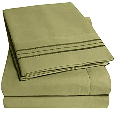1500 Supreme Collection Bed Sheets - PREMIUM QUALITY BED SHEET SET & LOWEST PRICE, SINCE 2012 - Deep Pocket Wrinkle Free Hypoallergenic Bedding - Over 40+ Colors & Prints- 4 Piece, King, Sage