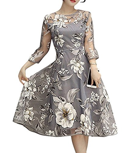 Honwenle Floral Hollow Out Printed See Through Chiffon Swing Midi Dress, Large, Gray - Gray Floral Dress