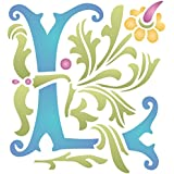 """Monogram L Stencil (size 6.5""""w x 7""""h) Reusable Stencils for Painting - Best Quality Letter Wall Art Décor Ideas - Use on Walls, Floors, Fabrics, Glass, Wood, Cards, and More…"""