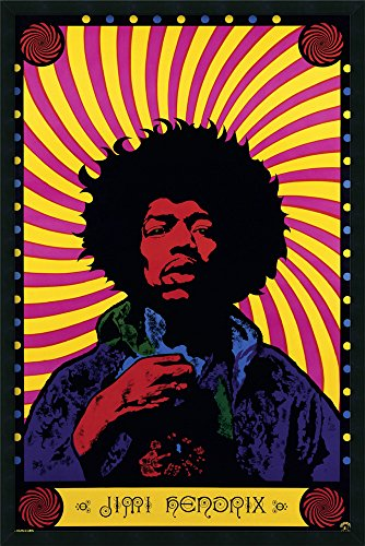 Framed Art Print, 'Jimi Hendrix - Psychedelic': Outer Size 25 x 37