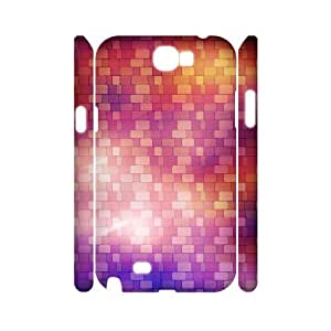3D Samsung Galaxy Note 2 Case,Colorful Blocks Hard Shell Back Case for White Samsung Galaxy Note 2