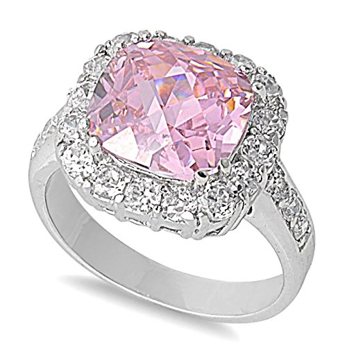 Sterling Silver Square Stone Ring with Pink and Clear CZ - size 10